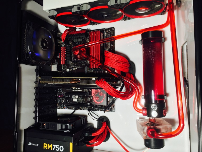 Sold Red Acrylic Loop Water Cooled Gaming Pc Desktop